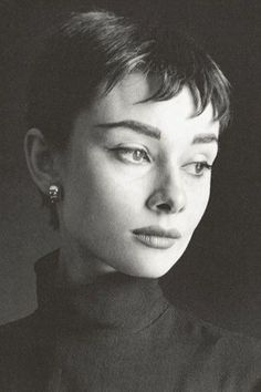 Audrey Hepburn Portrait by Cecil Beaton for Vogue in 1954 - short gamine haircut popular at the time.