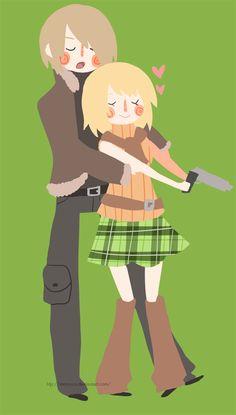 Leon Kennedy  Ashley Graham, Resident Evil 4 artwork by Maruuco.