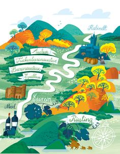 Cecilie Ellefsen - German wine map illustration                                                                                                                                                                                 More