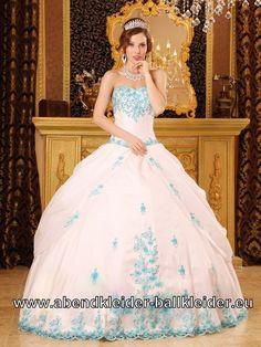 Rosa Ballkleid Sissi Abendkleid Mit Hell Blauen Stickereien