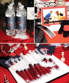Totally awesome party featuring: Blood Jello shots, black gloves with apple sewn on hand, and a name the vampire game!