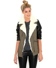 Joyce Contrast Sleeve Khaki Jacket With Shearling Trim