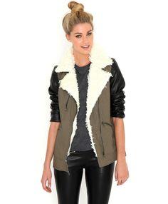 Joyce Contrast Sleeve Khaki Jacket With Shearling Trim