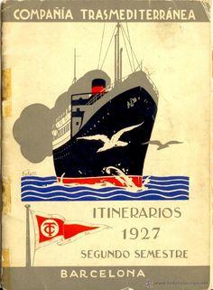 Vintage Travel Poster - Shipline Compagnia Trasmediterranea - Barcelona - 1927.