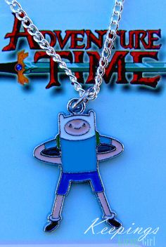 Adventure Time Finn silver necklace