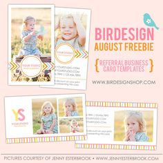 Free photoshop template - free referral card template for photographers | Photo cards templates and photographer resources by Birdesign