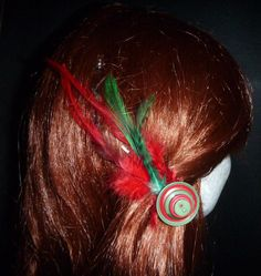 Festive button feather pin - Top End Millinery