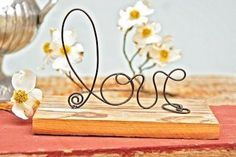Wedding Decoration Wire Love on Authentic Barn Wood for Centerpiece Table Top Reception Decor home-decorating