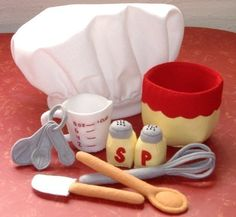 Be A Baker Set Felt Play Food PDF Pattern- Chef Hat, Mixing Bowl, Measuring Cup, Spoons, Wooden Spoon, Spatula, Whisk, Salt Pepper Shakers. $5.99, via Etsy.