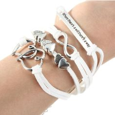 Item Specifics: Material:Alloy, PU Leather, Wax Cord Color: White & Silver Gender: Unisex Pattern: Infinity Symbol, Heart, Letters Length: About + Width: About Weight: About Package Includes: 1 x Bracelet Braided Leather, Pu Leather, Infinity Symbol, Wax, Unisex, Heart, Bracelets, Silver, Shopping