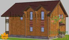 """#Дом из #оцилиндрованного бревна.  #Проект """"ГРИБНИК"""". Материал: Оцилиндрованное бревно Габариты застройки: 11,2 x 9,2 Площадь дома: 152,1 кв.м. Общая площадь: 168 кв.м. Стены: Бревно Высота этажа: 2.7 м"""