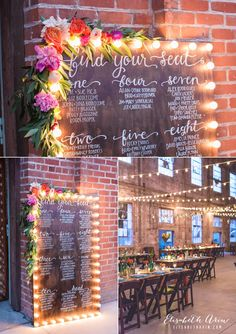 love the lights and flowers on this wedding seating chart! ~ we ❤ this! moncheribridals.com