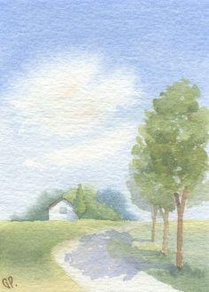ACEO Original landscape painting - Come home - watercolor Watercolor Pictures, Easy Watercolor, Watercolor Sketch, Watercolor Print, Watercolour Painting, Watercolor Flowers, Watercolor Projects, Watercolor Landscape Paintings, Watercolor Techniques
