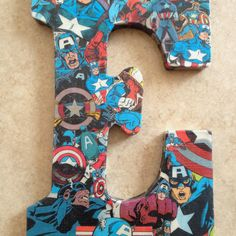 Decoupage. Marvel Comics name. Letters from Michaels. Individually cut out characters. Felt backed.