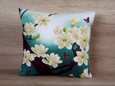 Magnolia cross stitch embroidery pillowcase 18 x 18 (43 x 43cm) ~ great present idea for women, oriental style cushion, asian-style design