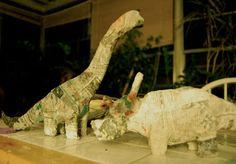 Olivia Jean: Keepin' it Green: Paper Mache Dinosaur Tutorial