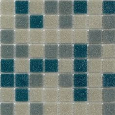 """Brio Blend Blue Riff - Atomic Ranch - Glass Mosaic Tile - Brio Atomic Ranch blend """"Blue Riff"""" glass tile was custom created just for modwalls by the editors at Atomic Ranch magazine. This glass mosaic tile blend is a mix of our Brio tile colors Gravel, Sleet and Indigo. This glass tile blend is well suited for any application including kitchen backsplash tile, bathroom tile, floor tile, fireplace tile and pool tile. It comes mesh-backed by the 1.15 square foot sheet of 225 tiles. Perfect for…"""