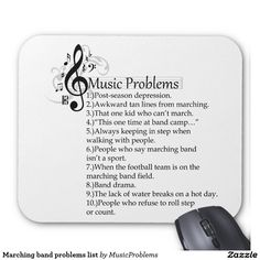 Marching band problems list mouse pad | Zazzle""