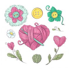 Set for handmade basket for crochet and knitting. Free Vector Graphics, Vector Art, Graphics Vintage, Vintage Logos, Retro Logos, Vintage Typography, Color Vector, Vector Illustrations, Vector Design