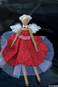 French Chic Girl Tilda Angel Dots Princess by RoyalHandicrafts