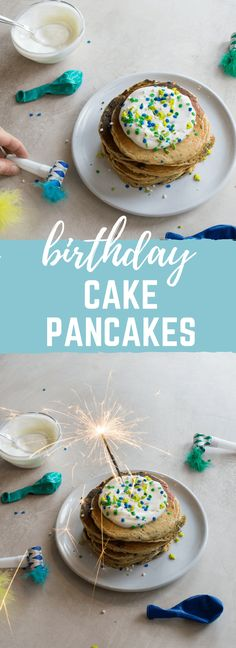 Cake for breakfast... heck yes! Birthday Cake Pancakes that tastes like you're licking cake batter right out of the bowl... with sprinkles of course.