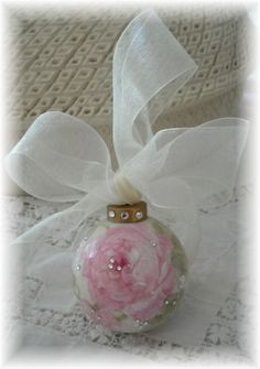Roses and Rhinestone Porcelain Ornament