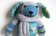 Hand Knit Dog  Plush Stuffed Animal Doll Knit Toy  by VeryCarey, $50.00