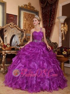 Low Price Purple Quinceanera Dress One Shoulder Organza Beading Ball Gown  http://www.fashionos.com/  http://www.facebook.com/quinceaneradress.fashionos.us   The twinkling beads scattered on the bodice and strap add the shinning look and the delicate of the dress.The mid-section is decorated with a beaded waistband add the charming look.Layers of ruffles makes the dress looks sassy and big. The lace up back completes the look.