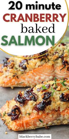 Ready in 20 minutes! Baked salmon with a cranberry herb crust. Can easily be made gluten free! #salmon Weeknight Recipes, Dinner Recipes Easy Quick, Gluten Free Recipes For Dinner, Delicious Recipes, Low Carb Recipes, Easy Meals, Salmon Recipes, Fish Recipes, Seafood Recipes