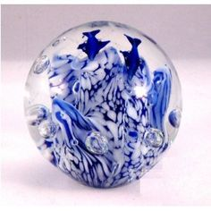 Double Dolphin Over Coral Bed in Round Paperweight Glass Marbles, Glass Paperweights, Collectible Figurines, Glass Ball, Creative Gifts, Murano Glass, Paper Weights, Colored Glass, Dolphins