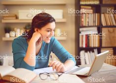 beautiful young woman working at home royalty-free stock photo