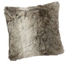 """Faux Fur Pillow Cover - Gray Ombre 