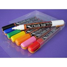 Goes on wet, dries like chalk... what starbucks uses on their chalk boards. YESSS! I think chalkboard stuff is so cute but I HATE chalk. Solution!!