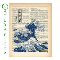 The Great Wave of Kanagawa dictionary print  on by naturapicta, $7.99