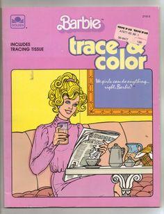 Vintage Golden Book Barbie Trace and Color Coloring Book 1985 | jjandedt - Books on ArtFire