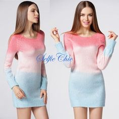 Cotton Candy - Ombre pink and blue long sweater - Stay Selfie-Ready in our Amazing Clothes, Bags & Accessories! The hottest new styles in women's clothing including Trendy Dresses, Women's tops, fly bottoms & Perfect Clubwear!