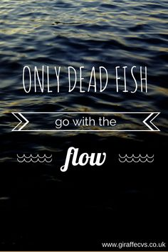 Don't get carried along by the tide, craft your own destiny by making YOUR plan and putting it in motion.  After all, only dead fish go with the flow.  www.giraffecvs.co.uk