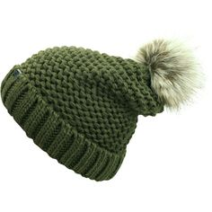 Olive Green Winter Knit Beanie Hat With Faux Fur Pom Pom ($17) ❤ liked on Polyvore featuring accessories, hats, olive, skull beanie, beanie skull cap, pom pom hat, slouch beanie, slouchy hat and pom pom beanie
