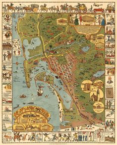 San Diego illustrated map.