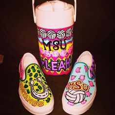 custom painted shoes and custom painted cooler jug midwestern state university
