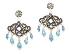 Tobacco, light blue and gardenia white Nuvola earrings with amazonite drops and pearls. www.annaealex.com