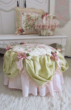 I had a request to cover a fatboy pouf to match a girl's frilly room.   A cushion and bin cover to complete the set.   I cut a circle of ...