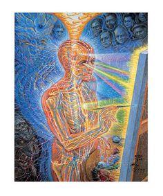 Images For > Psychedelic Art Alex Grey Alex Grey Paintings, Art Gris, Alex Gray Art, Art Visionnaire, Les Chakras, Grey Artist, Nova Era, Visionary Art, Sacred Art
