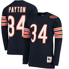 Men's Chicago Bears Walter Payton Mitchell & Ness Navy Throwback Name & Number Long Sleeve T-Shirt