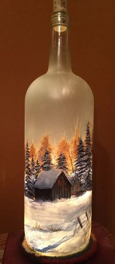 Large Hand Painted Frosted Glass Lighted Wine Bottle With Trees And Barn (Bottle Painting Tree) Glass Bottle Crafts, Wine Bottle Art, Painted Wine Bottles, Lighted Wine Bottles, Painted Wine Glasses, Bottle Lights, Bottles And Jars, Bottle Trees, Decorated Bottles