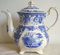 William Ridgway Tyrolean Pattern #2 Tea Pot C1840 Staffordshire Pottery - For Sale on Ruby Lane at Beauty of Ceramics