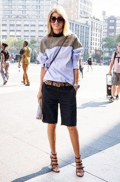 How To Get Away With Wearing Shorts At The Office via @WhoWhatWear Add a punch of personality to your conservative shorts with a leopard belt.
