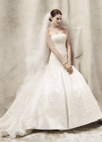 My wedding dress!      http://www.davidsbridal.com/Product_Tulle-Over-Satin-A-Line-Gown-with-Lace-Appliques-CWG394_Bridal-Gowns-Shop-By-Designer-Oleg-Cassini