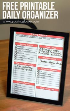 Use this free printable daily organizer to help keep your family routine on track each day. Includes space for a morning routine, evening routine, homeschool routine, meal plan, and notes all at a glance. You can print it off once and put it in a picture frame. Then use a dry erase marker to check it off each day. This has totally transformed my days, and I hope it will do the same for you!