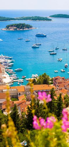 Famous Hvar city from the Spanish Fortress in Croatia